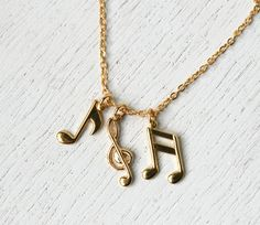 Gold Plated Music Notes Necklace by greenduckweed on Etsy, $13.50