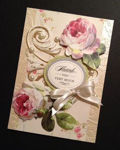 Elegant and Floral ShabbySweet Thank You by PinkPetalPapercrafts