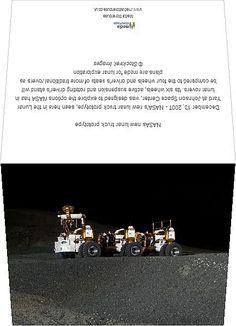 NASAs new lunar truck prototype. Greetings Card. December 13, 2007 - NASA's new lunar truck prototype, seen here in the Lunar Yard at Johnson Spa.