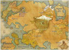 Map of Tamriel for The Elder Scrolls Online Video Game.