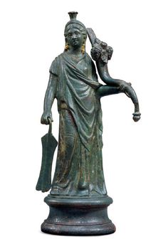 ROMAN BRONZE STATUETTE  OF ISIS FORTUNA  1st-2nd century AD Isis Goddess, Mother Goddess, Roman Artifacts, Ancient Artifacts, Ancient Rome, Ancient History, Roman Sculpture, Bronze Sculpture, Art Romain