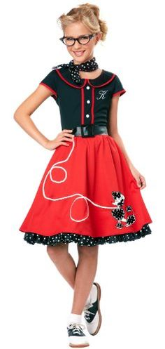 FEATURED : 50's Sweetheart kid Costume, pink/Black, Small (6-8)      The 50's poodle skirt costume for kids features a costume, pettiskirt...