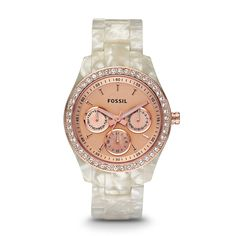Stella Multifunction Resin Watch - Pearlized White with Rose ES2887 | ®
