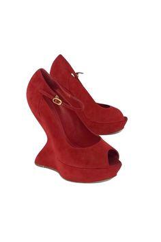 Alexander McQueen- Red Suede Peep Toe Platform Heels Sz 8.5 | Current Boutique