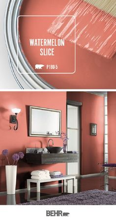 Color of the Month: Guava Jelly Looking for an easy way to spice up your next DIY home makeover project? Find inspiration in this colorful bathroom. A new coat of Behr Paint in Watermelon Slice is all it takes to get started. Click below to learn more. Behr Paint Colors, Bedroom Paint Colors, Interior Paint Colors, Paint Colors For Living Room, Paint Colors For Home, Bathroom Colors, House Colors, Interior Design, Colorful Bathroom