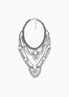 Multiple waterfall chain with faceted crystal details. Chain and lobster clasp fastening. Mango Clothing, Faceted Crystal, Waterfall, Fashion Jewelry, Jewels, Chain, Detail, Earrings, Silver