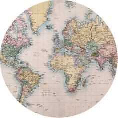 Vintage Map Circle Wall Decal