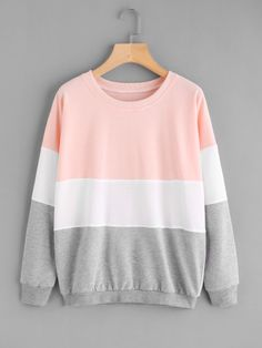 Shop Color Block Long Sleeve Sweatshirt at ROMWE, discover more fashion styles online. Girls Fashion Clothes, Teen Fashion Outfits, Girl Fashion, Girl Outfits, Casual Outfits, Fashion Tips, Mens Fashion, Retro Fashion, Spring Fashion