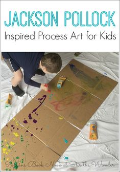 Jackson Pollock Process Art inspired by the children's picture book Action Jackson by Jan Greenberg.