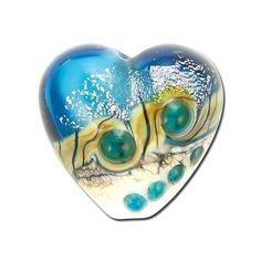 19mm Handmade Teal Stardust Lampwork Glass Heart Beads by Grace Lampwork