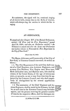 1842 Amndments to 1839 Volunteer Fire Department By-laws and Ordinances of the Mayor,
