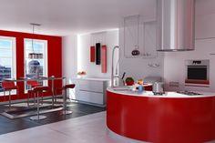 Offene Edelstahlwohnküche mit roten Fronten