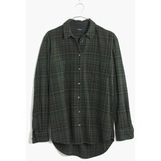 MADEWELL Flannel Oversized Boyshirt in Roland Plaid ($80) ❤ liked on Polyvore featuring tops, camouflage green, camouflage shirt, oversized plaid shirt, plaid button down shirt, green shirt and camo shirts