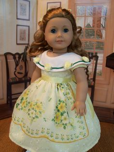 Spring Apron Gown for Marie Grace or Cecile/ Clothes for American Girl Dolls