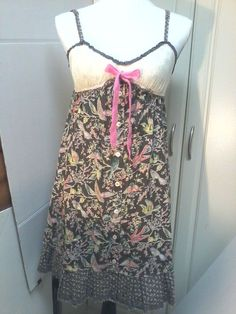 Free People Boho Chic Multi Color Floral Birds Jr's Large Spaghetti Strap  #FreePeople #EmpireWaist #Casual