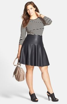 Free shipping and returns on Vince Camuto Bandage Top & City Chic Leather Skirt (Plus Size) at Nordstrom.com.