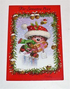 "VINTAGE HALLMARK CHRISTMAS ""FOR SOMEONE NICE"" CUTE HEDGEHOG GREETING CARD UNUSED   eBay"