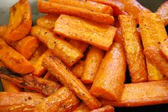 Recipe: Garlic-Infused Roasted Carrots 8 large carrots 1/2 cup olive oil 3 large cloves garlic, smashed (I just lay the knife on a clove and give it one go