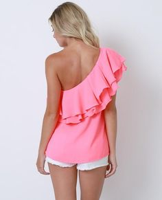 +Non-stretchy layered ruffle one-shoulder top