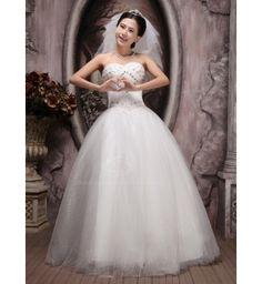 Graceful Beading and Rhinestone Embellished Floor-Length Wedding Dress For Bride