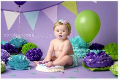 Purple. green and blue props. Newborn photography