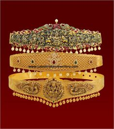 Checkout the latest vaddanam designs that are hot in the jewellery market. Nakshi work antique vaddanam, Diamond vaddanam from vaibhav Vintage Wedding Jewelry, Indian Wedding Jewelry, Bridal Jewelry, Gold Jewelry, Jewelery, Gold Bangles, Indian Bridal, Gold Rings, Indian Jewellery Design