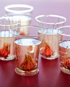 Hibiscus and Ginger Champagne Cocktail; The Flowers Open Up Inside The Drink-Beautiful & Festive!