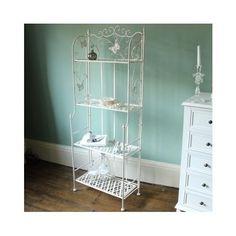 Corner Shelf Unit Ivory Metal Tall Display Vintage Shabby Chic Tier Bath Bedroom