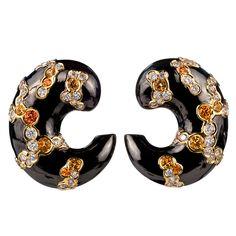MARINA B. Orange Sapphire Cuf Earrings