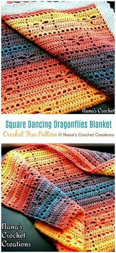 Dancing Dragonfly Blanket Crochet Free Pattern - Fillet Free template Source by Tunisian Crochet Blanket, Crochet Quilt, Baby Blanket Crochet, Crochet Baby, Crochet Afghans, Crochet Blankets, Crochet Patterns Filet, Crochet Stitches, Crochet Ideas