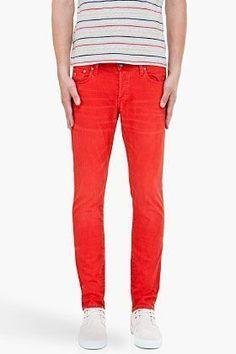 G-Star red 3301 super slim jeans for men   SSENSE