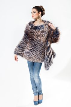 model 102-B in silver fox blue jeans coloured