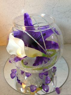Wedding Table Centrepiece Cadbury Purple Orchids And Calli Lily Bowl Design
