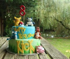 Pokemon cake taart #pikachu #charmander #jigglypuf #kick