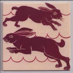 Rabbit design tile by William de Morgan, 1880s.