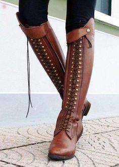 Vintage Rivet Knee High Boots Black