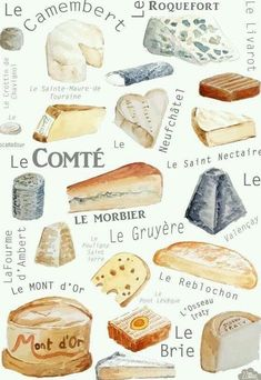 Reproduction of original painting done with watercolor on paper 300 g - cheeses of France Perfect gift for moms, grandmas or young women to deco… Cheese Shop, Cheese Lover, Fromage Cheese, Charcuterie And Cheese Board, French Cheese, Wine Cheese, Cheese Art, Perfect Gift For Mom, Cheese Platters