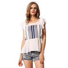 Stylish Ladies Women O-Neck Butterfly Sleeve Striped Lace Casual Loose T-shirt