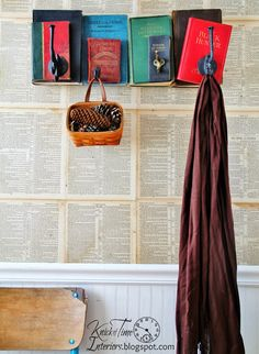 A Book-lover's Project!  Unwanted books as wallpaper AND a coat rack!  ~~via KnickofTimeInteri...