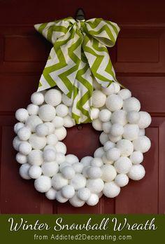 Winter snowball wreath made from Styrofoam balls covered in Epsom salt