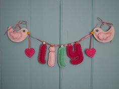 Personalized Name Garland with Birds - Pink and Mint