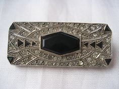 Vintage Art Deco Sterling Silver Coro Brooch Pin with Black Onyx and Paste Stones,  c1935
