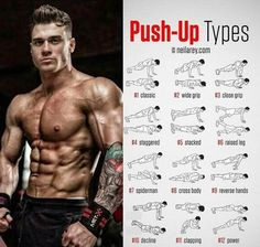 Push-up tipsEjerc.Push-up tips Push Up Workout, Gym Workout Tips, Fun Workouts, Calisthenics Workout, Weight Training Workouts, Chest Workouts, Muscle Fitness, Health Fitness, Workout Programs