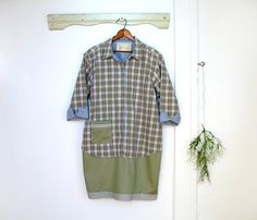 Upcycled tunic dress, subtle color, plaid & olive, artistic, altered romantic clothing, large to plus size clothing, women day dress