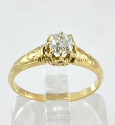 Antique Engagement Ring  14k Gold with 1/3 CT Mine Cut
