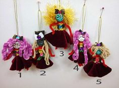 Miniature Red Doll Mobile Halloween Witch Art Clay Doll