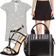 Per una donna sexy chic e seria allo stesso tempo, un outfit black e white x la camicetta a pois, minigonna e sandali con tacco neri, borsa a mano con disegni etnici bianchi e neri!