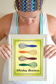 Funny Kitchen Art Print, Kitchen Wall Decor Poster Sign, Whisk Quote, Retro Kitchen Art 8 x 10