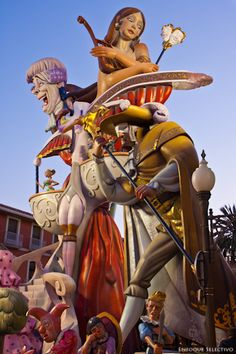 Las Fallas (Spain). 'Spain's noisiest festival is also one of its most spectacular. Las Fallas is an explosive fiesta of fireworks, music and bonfires that light up the sky for almost a week. But this is more than just noise. Las Fallas sees each Valencia neighbourhood try to outdo each other in elaborate wood-and-papier-mâché  sculptures that go up in flames in an  extraordinary climax.'http://www.lonelyplanet.com/spain/valencia-and-murcia/valencia/travel-tips-and-articles/76344