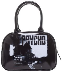 "ROCK REBEL PSYCHO BATES MOTEL HANDBAG - The sign states there is ""No Vacancy"" ...but there is always room for one more handbag!   This officially licensed purse features the creepy house from Hitchcock's Psycho printed on a glossy vinyl.  This bag has an inner zip pocket, cell phone holder, full zip closure, metal feet, rolled handles and is completed with satin like liner as black as Norman Bates' heart."